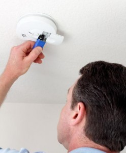 Change the battery once per year in your smoke detectors